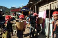 Welcoming local villagers at the main street in Ta Phin